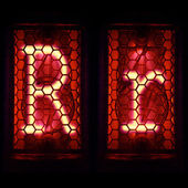 "Nixie tube indicator set of letters the whole alphabet. The letter ""R"". — Stock Photo"