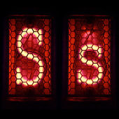 """Nixie tube indicator set of letters the whole alphabet. The letter """"S"""". — Stock Photo"""