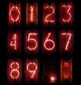 The real Nixie tube indicator a set of decimal digits. — Stock Photo