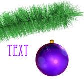 Fialová vánoční koule — Stock fotografie