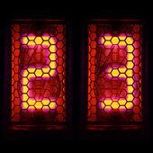 Nixie трубки индикатор номера в стиле ретро. свечение индикатора с магическим фиолетовый окантовкой. цифра 2, 3 — Стоковое фото