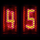 The  Nixie tube indicator of the numbers of retro style. Indicator glow with a magical purple fringing. Digit 4, 5 — Stock Photo