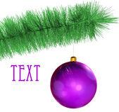 Violett julgranskulor — Stockfoto