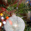 Decoration: ball on the new year tree — Stock Photo