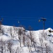 Cableway on ski resort and blue sky — Stock Photo