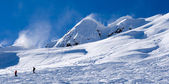 Ski resort Krasnaya Polyana. view on the slope — Stock Photo