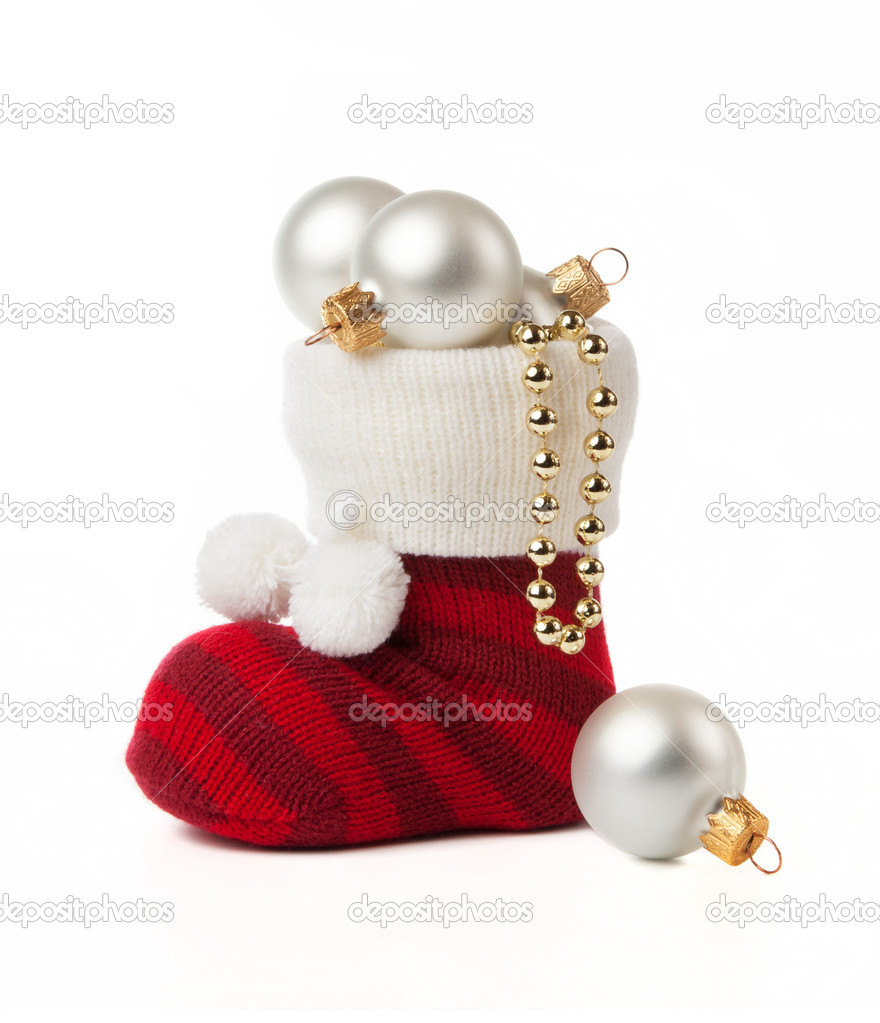 Sock with Christmas toys on a white background. — Foto de Stock   #16883683