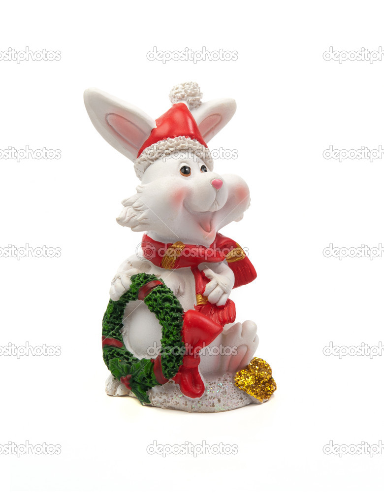 Toy Christmas hare on a white background. — Stock Photo #16884029