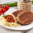 Stock Photo: Cutlets with vermicelli.