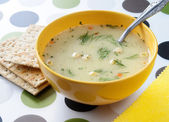 Cream- soup with the crackers. — Stock Photo