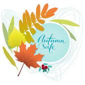 векторные осенняя скидка билеты, этикетки, марки, наклейки с разноцветными листьями — Cтоковый вектор