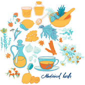 Set of objects and herbs to treat colds — Stock Vector