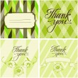 A set of cards for Thanksgiving in green and brown colors. Floristic elements. Curls. — Stock Vector