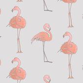 Patrones sin fisuras de flamencos rosados — Vector de stock