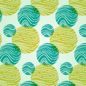 Abstract pattern with circles and waves in turquoise and mustard colors. — Stock Vector