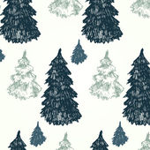 Pattern with fir trees in the coniferous forest. Winter, snow, festive mood. — Stock Vector