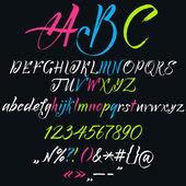 The alphabet in calligraphy brush. — Stock Vector