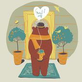 Bear in love on the doorstep of his beloved. In his hands a gift - a jar of honey. Touching scene. Waiting. Love — Stok Vektör