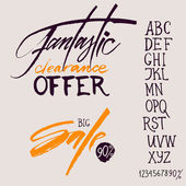 "Calligraphic phrase ""fantastic clearance offer"", ""Big sale"". Attached font and numbers for a simple way to describe your offer. — Stock Vector"