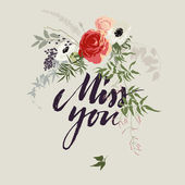 Hand drawn miss you card with flower bouquet — Stock Vector