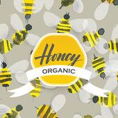 Patrón acuarela de la abeja de miel — Vector de stock