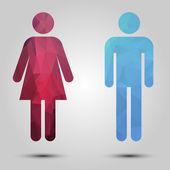Triangle male and female icon — Stock Vector