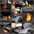 Incandescent element in the smithy - Stock Photo