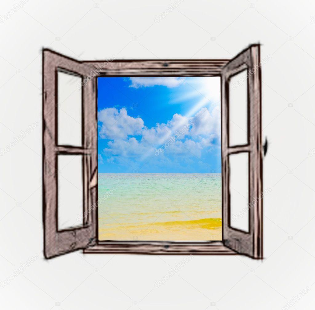 Vue sur la mer travers une fen tre ouverte photo 19942377 for Une fenetre ouverte