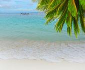 Longtail boat en la playa tropical del mar — Foto de Stock