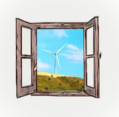 Mountain views from the window — Stock Photo