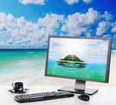 Sunny bright office on the beach — Стоковое фото