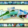 Film strip with beautiful holiday pictures — Stockfoto