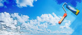 Blue sunny sky with clouds — Foto Stock