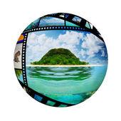 Sonnigen tropischen strand auf der insel — Stockfoto