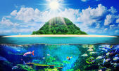 Sunny tropical beach on the island — Stok fotoğraf