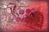 Hjärta och röd ros — Stockfoto