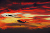 Airline flying in the sky at night — Stock Photo