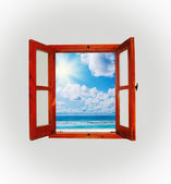 Sea view through an open window — Stock Photo