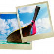 Longtail boat on the sea tropical beach — Stock Photo