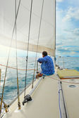Yacht in the open sea — Stock Photo