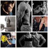 Bodybuilder posing on the black background — Stock Photo