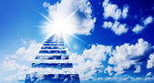 Blue sunny sky with clouds — Stock Photo