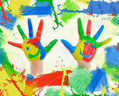 Small hand painted child. — Stock Photo