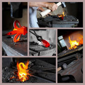 Incandescent element in the smithy — Stock Photo