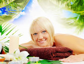 Woman in a spa salon — Stockfoto