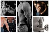 Bodybuilder poserar på den svarta bakgrunden — Stockfoto