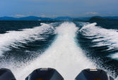 Tail of the sea from the speed boat — Stock Photo