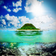 Sunny tropical beach on island — Stock Photo #27390755