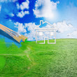 Green grass against blue sunny sky — Stock Photo #27391209