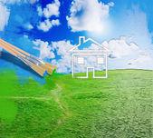 Herbe verte avec un ciel bleu ensoleillé — Photo